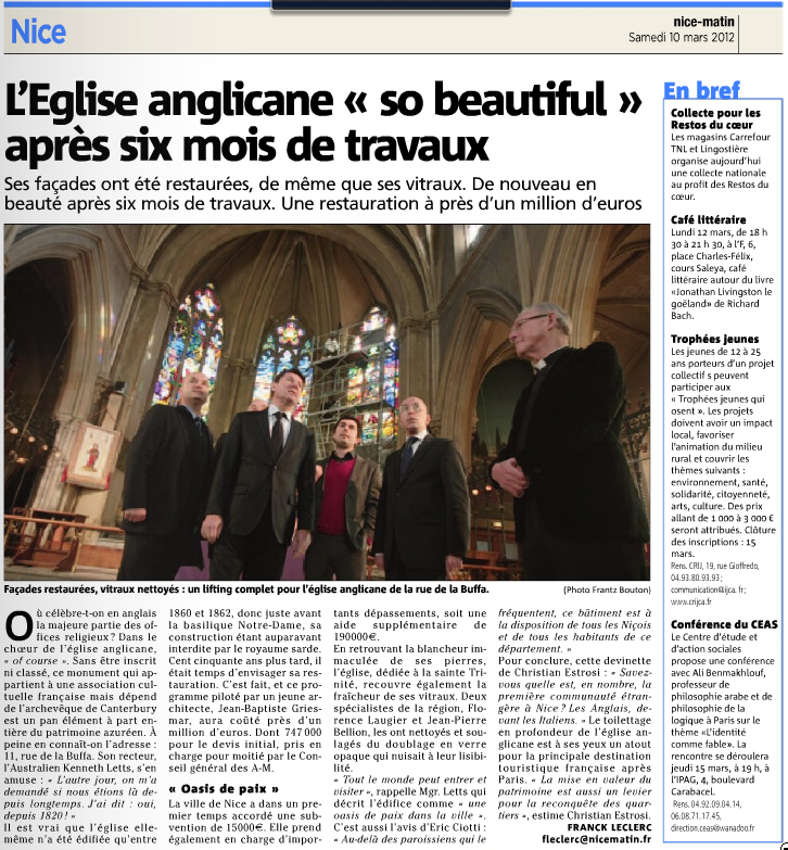 Extrait journal NiceMatin du samedi 10 mars 2012