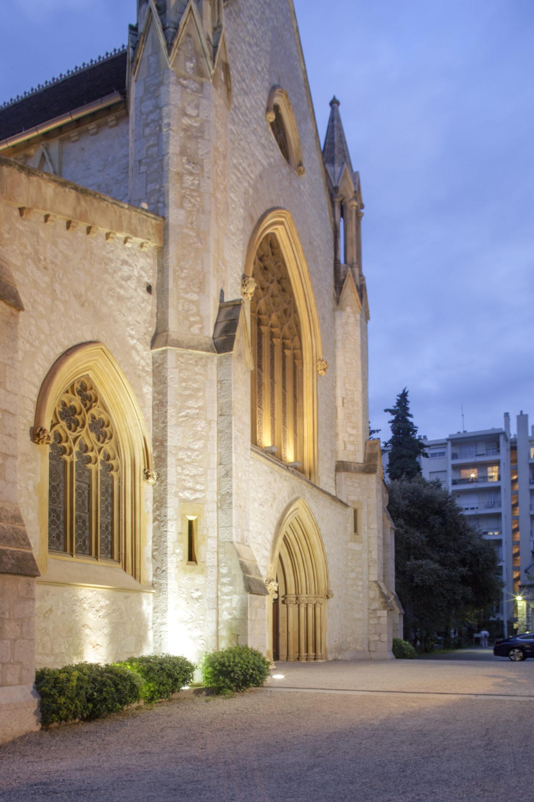 eglise anglicane nice, façade eglise anglicane nice nuit