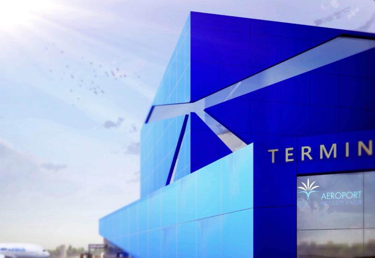 architecture, nouveau terminal petrolier de l'aeroport de Nice Cote dazur