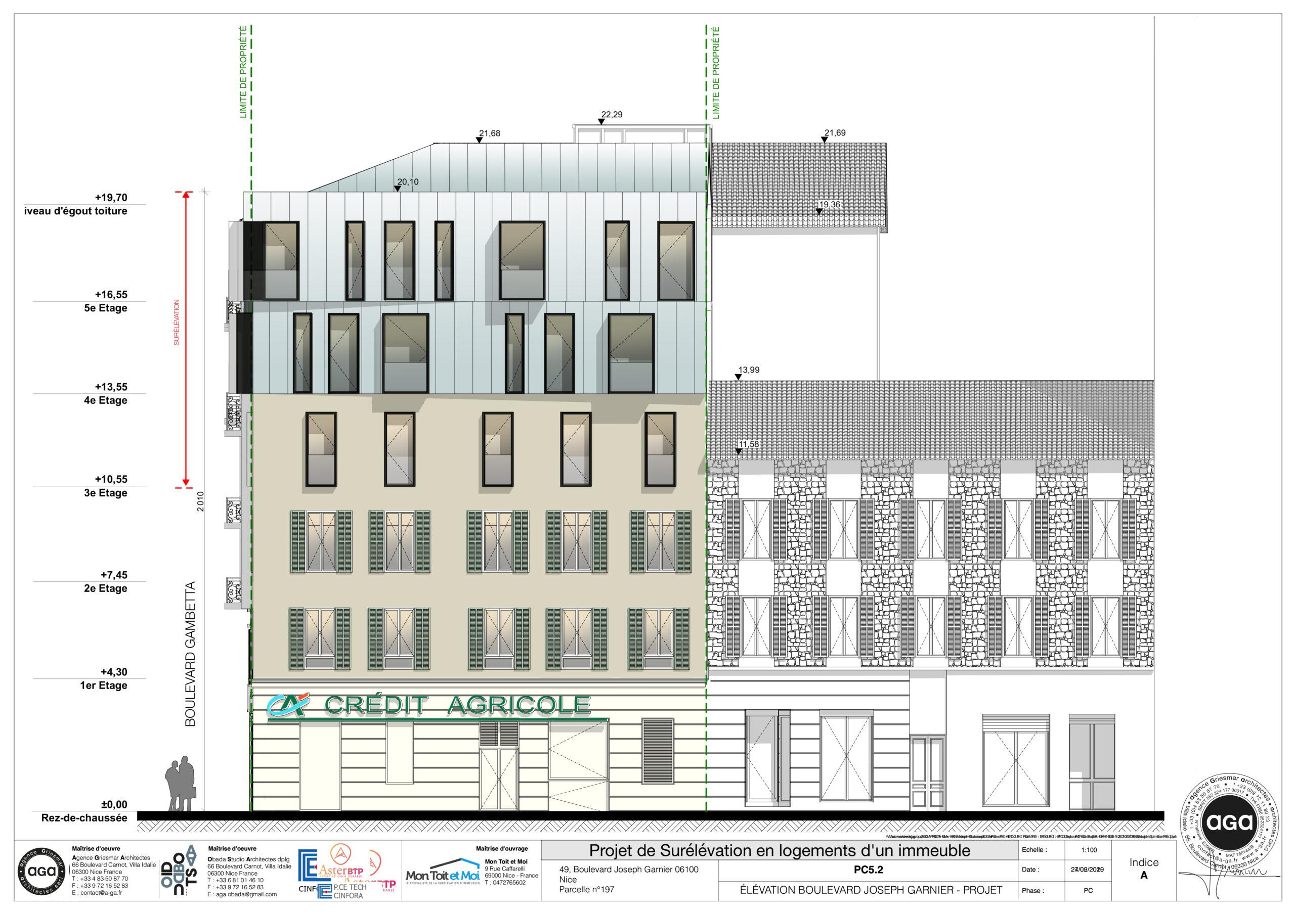 Facade Garnier projet surélévation